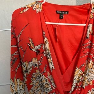 NWT Floral wrap dress 3/4 sleeve red Express